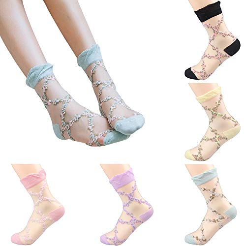 Sheer Mesh Transparent Socks Women - Lace Ultrathin Fishnet See Through Ankle Sock Flower
