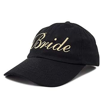 DALIX Bachelorette Party Hats Bride Squad Dad Caps Wedding Bridal Shower Black