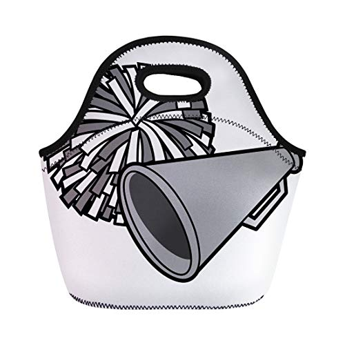 Semtomn Neoprene Lunch Tote Bag Cheerleader Cartoon of Cheerleading Competition Megaphone Pom School Sport Reusable Cooler Bags Insulated Thermal Picnic Handbag for -
