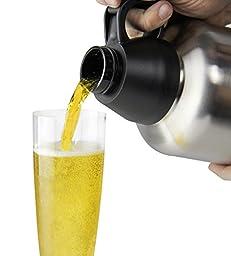 Kegco Beer Growler Screw Cap Double Wall Brushed Stainless Steel 32 oz / 1 Liter