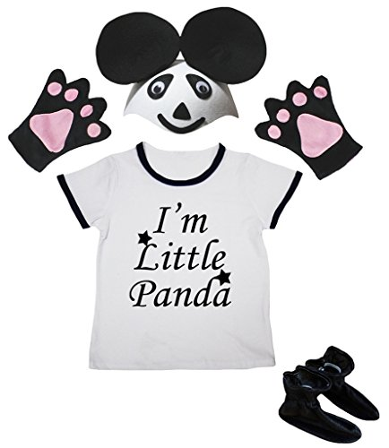 Petitebella I'm Little Panda Shirt Black Hat Glove Shoes Girl 4pc Costume 1-8y (3-4 Years)