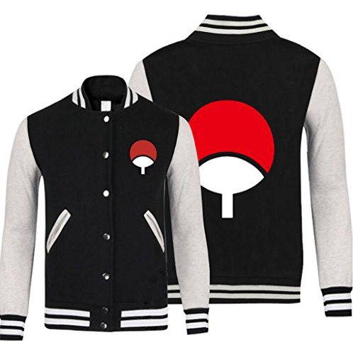 - Poetic Walk Naruto Anime Cosplay Costume Sports Young Baseball Jacket (Large, Black)