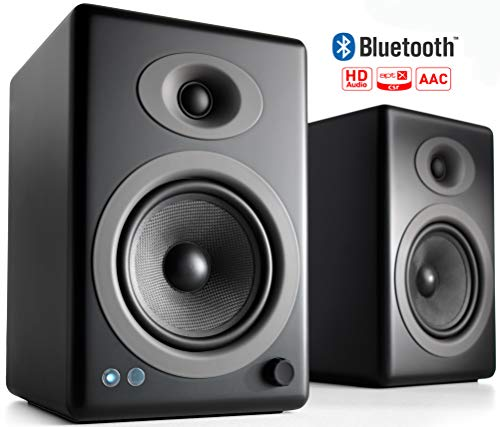 Audioengine A5+ 150W Wireless Powered Bookshelf Speakers, Bluetooth aptX HD 24 Bit DAC, Built-in Analog Amplifier & Remote Control (Black)