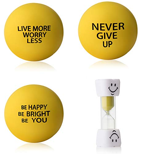 InsidersPro Stress Ball Complete Bundle: Motivational Squeeze Toys + Sand Timer | Hand Exerciser Balls to Relieve Tension/Joint Pain & Strengthen Grip - Great Gift Idea for Kids & Adults