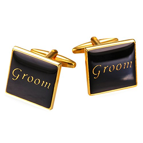 18k Square Cufflinks (Wedding Cufflinks for Men Square Shirt Studs Plated With Black Enamel 2 Pcs Gold Plated Best Man Cuff Links)