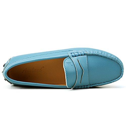 Shenduo Zapatos de cuero - Mocasines cómodos con cordones de moda para mujer D7052 Azul celeste