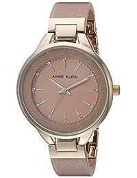 Anne Klein - Reloj de pulsera de resina con cristales Swarovski para mujer, Rosa, dorado
