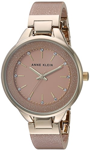 Anne Klein Women's AK/1408LPLP Swarovski Crystal Accented Gold-Tone and Light Pink Shimmer Resin Bangle Watch