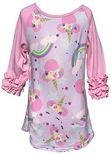 (Little Girl Kids Unicorn Stars Rainbow Ruffle Shirt Top Tee T-Shirt Pink 8 XXXL (501978))