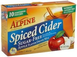 Alpine Spiced Cider, Sugar-free Apple Flavor Drink Mix, .14 Oz Pouch, 10 Count Boxes (Pack of 6)