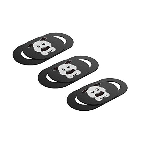 Webcam Cover Slide Cute Dog Printed Laptop, iPhone, iPad, Tablet, Mac Air, MacBook Pro - Ultra Thin 0.027in - Complete Protection Against Surveillance - Black (3 Pack) ()