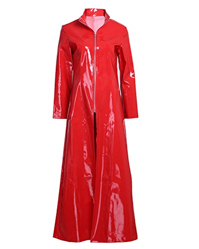 Freebily Women Men Sexy Shiny Metallic PVC Leather Turtleneck Trench Coat Long Jacket Costume Red Large