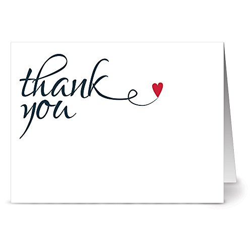 Heart Felt Thank You - 36 Thank You Note Cards - Blank Cards - Red Envelopes Included Heart Note Card