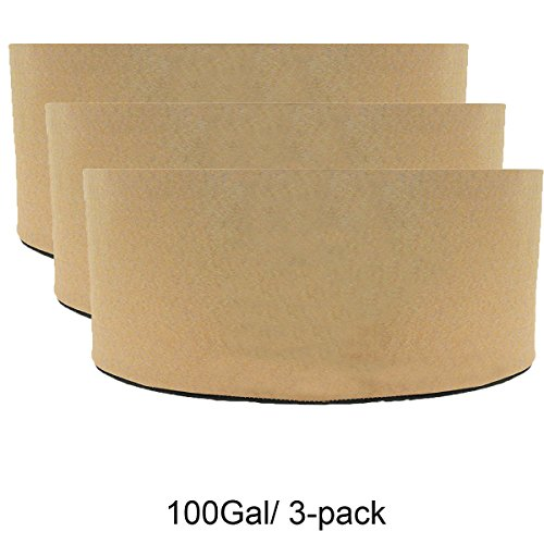 Hydro Plus Grow Bags 100Gal/3-pack Tan Hydroponic Grow Pots Plants Flowers Growing Planter Containers (100Gal/3-pack) by Hydro Plus