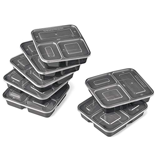 Microwave Meal Prep Containers with 3 Sectional Food Dividers - Set of 7, Reusable and Stackable for Easy Storage