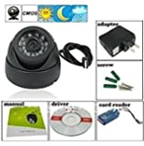 Finicky World CCTV Dome 24 IR Night Vision Camera DVR with Memory Card Slot Recording (USB),Black