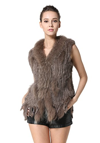 MEEFUR Rabbit Fur Vests Raccoon Fur Collar Women's Winter Autumn Gilets Real Fur Knitted Waistcoat (US4, Khaki)