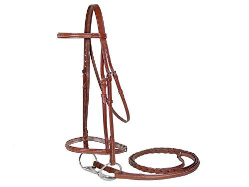 Paris Tack Classic Fancy Stitch Hunt Bridle with Laced Reins, Havana, Horse (English Bridle With Reins)