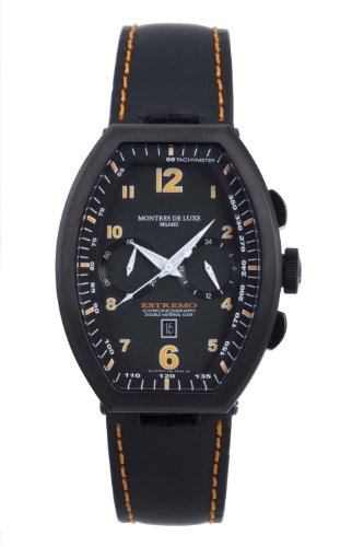 Montres De Luxe Men's EXN 8002 Estremo Black Titanium and Aluminum Chronograph Luminous Leather Date Watch