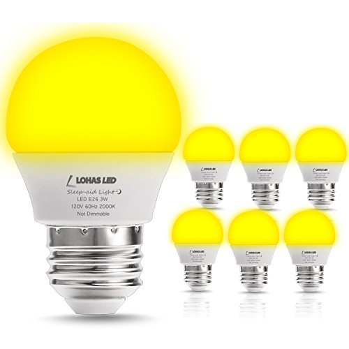 LOHAS Yellow Bug Light Bulbs, 3W LED Mini G14 LED Globe Bulbs, 25W Equivalent, E26 Medium Base, Non-Dimmable Night Light Bedrooms LED Lights for Home Lighting Fixtures, 6 Pack - Yellow Bug Light Bulb