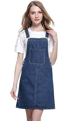 Caissip Midi Length Long Denim Jeans Dress Causal Suspender Jumpers Overall Pinafore Denim Skirt for ()