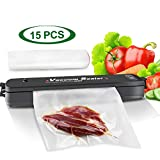 Vacuum Sealer Machine, Benss Compact Food Vacuum Sealer with Automatic Vacuum Air Sealing System and Led Indicator Lights and 15pcs Sealer Bags