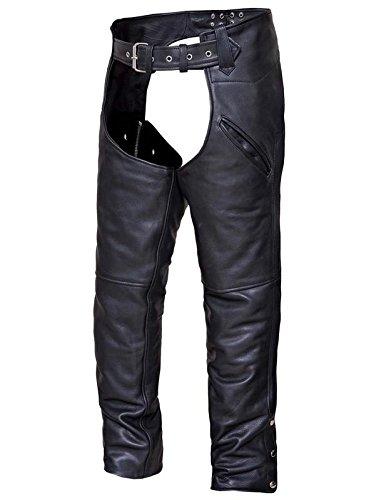 Unik Motorcycle - Unik International Unisex Premium Leather Deep Pocket Motorcycle Chaps 2XL