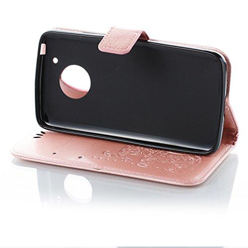 Funda Moto G5, CaseLover Piel Libro Cuero Elefante Impresión Carcasa para Motorola Moto G5 con TPU Silicona Case Cover Interna Suave Flip Folio Tapa y Cartera Cierre Magnético, Función de Soporte, Bil Oro Rosa