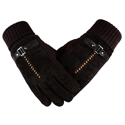 Sunfei Men Anti Slip Snowboard Thermal Winter Sports Leather Touch Screen Gloves (Brown-2)