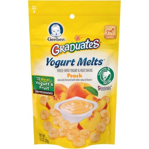 - Gerber Graduates Yogurt Melts Freeze-Dried Yogurt & Fruit Snacks, Peach, 1 Oz (Pack of 14)