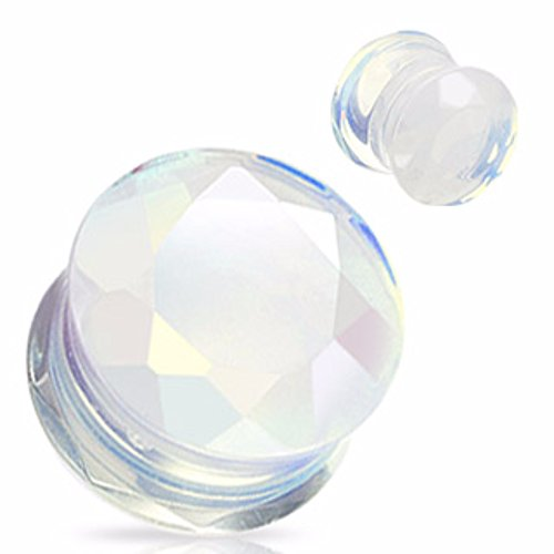 Opalite Precious Stone Faceted Gem Double Flared Freedom Fashion Plug (Sold by Pair)
