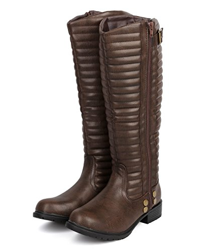 Women Boot Taupe DC44 Liliana Knee Ribbed Motorcycle Belted Leatherette High RPz85q