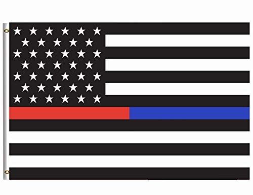 Wamika Thin Blue Line and Red Line Flag 4x6 FT with Brass Grommets USA America Flags Honoring Law Enforcement Police Officers and Firefighter Flag Banner for Garden House Indoor Outdoor ()
