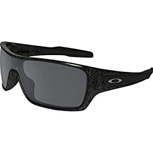 Oakley Men's Turbine Rotor Non-Polarized Iridium Rectangular Sunglasses, Ghost Text w/Black Iridium, 132 mm