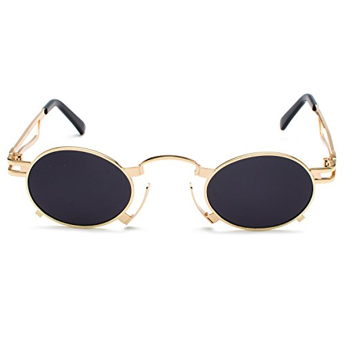 Frame Gold Unisex Eyewear Men Cosplay Glasses Grey Steam Gothic Small Sunglasses Glasses Punk CVOO Goggles Punk Vintage ZpwxfAq6