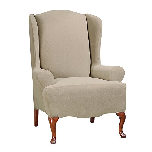 Sure Fit Stretch Morgan - Wing Chair Slipcover  - Khaki (SF45361) -