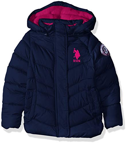 US Polo Association Girls' Big Hooded Bubble Jacket with Piping Detail, Navy, 7/8