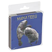 Tree-Free Greetings Set Of 4 Cork-Backed Coasters, 3.75x3.75-Inch, Manatees Themed Wildlife Art (52943)