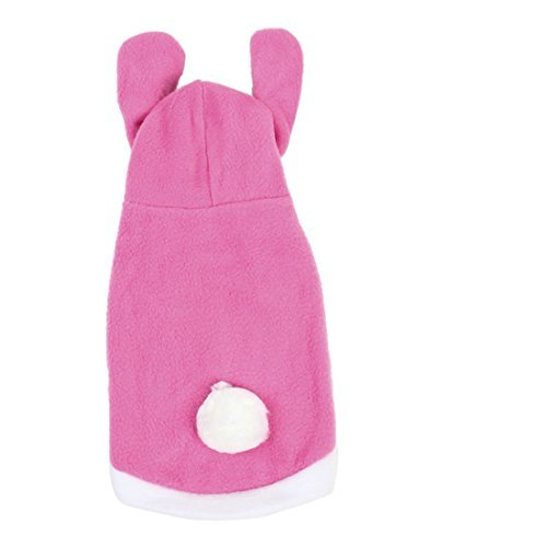 DealMux Small Rabbit Design Single Breasted Puppy Dog Clothes Coat, Pink/White ()