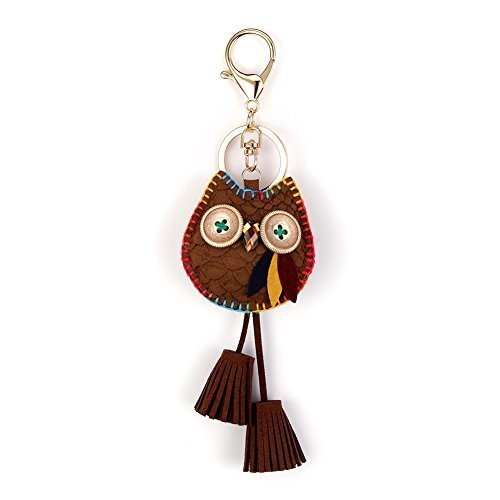 Owl Key Ring Chain, Nikang Handmade Leather Key Holder Metal Chain Charm With Tassels, Tassel key chain, Handbag Accessories, Fashion Item, Car Key Chain, Idea for Woman, Brown