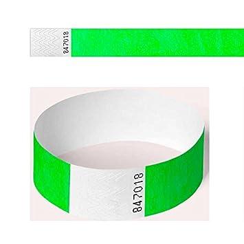nueva llegada cf2b1 9c94f 100 pulseras de papel de seguridad para eventos (2,5 cm y 1 ...