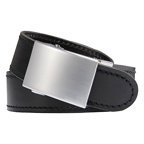 (RGB [Micro Adjustable] The Original Ratchet Gun Belt for Concealed Carry CCW Handmade with Italian Full Grain Leather Reinforced Up to 48 inch Black Leather Black Stitching Silver Buckle (Viper))