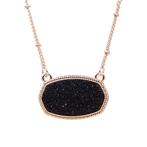 YUJIAXU Sparkling Faux Druzy Oval Pendent Short Necklace for Women's Gift Outfit Jewelry (Rose Gold + Black Drusy)