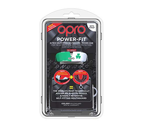 OPRO Power-Fit Mouthguard | Adult Handmade Gum Shield + Strap for Football, Lacrosse, Hockey and Other Contact Sports - 18 Month Dental Warranty (Ages 10+) (Ireland) by OPRO (Image #1)
