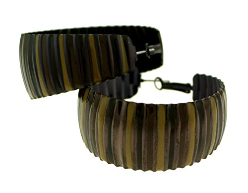 Bronze-Tone Hoop Earrings With Earth-Tone Stripe Design For Women (Earthtone Stripe)