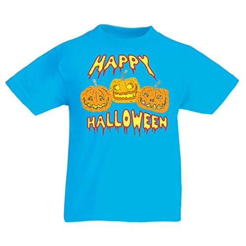 T Shirts for Kids Happy Halloween! Party Outfits & Costume - Gift Idea (7-8 Years Light Blue Multi Color) -