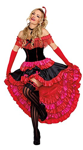 Can-can Costume (Dreamgirl Women's Can-Can Cutie Costume, Red/Black, Small)