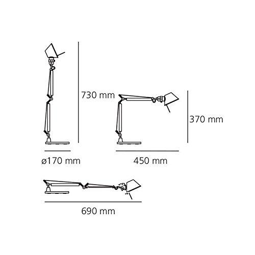 Artemide TOLOMEO Micro Table Lamp Aluminum Chrome LED INCLUDED Design Italy 1987