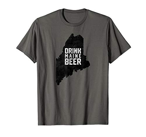(Vintage Drink Local Maine Craft Beer State Outline T-Shirt)
