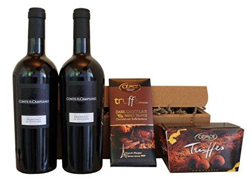 Geschenkset Schokolade und italienischer Rotwein Primitivo (2 x 0.75 l)